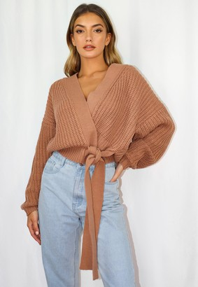 Missguided Mocha Belted Knitted Cardigan