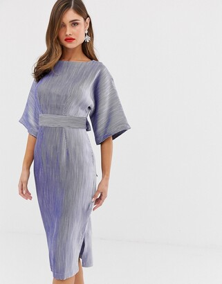 Closet London ribbed pencil dress with tie belt in blue