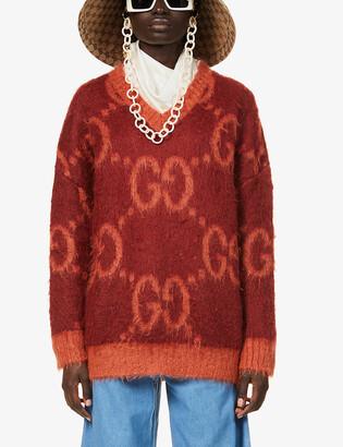 Gucci Logo-intarsia mohair-blend jumper