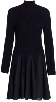 Emporio Armani Pleated Turtleneck Sweater Dress