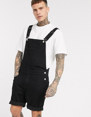 Asos DESIGN denim overall shorts in black