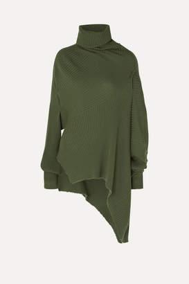 Marques Almeida Marques' Almeida - Asymmetric Draped Distressed Ribbed Wool Sweater - Army green
