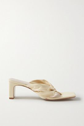 PORTE & PAIRE Gathered Leather Sandals - Cream