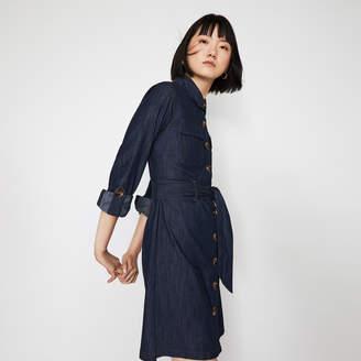 Warehouse BELTED MINI DENIM SHIRT DRESS