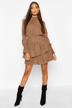 boohoo Woven Sheered Neck Ruffle Detail Skater Dress