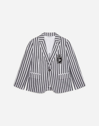 Dolce & Gabbana Single-Breasted Poplin Suit With Striped Print