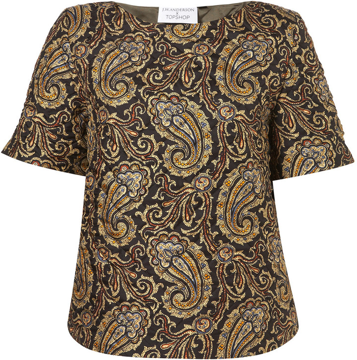 J.W.Anderson **Quilted Paisley Silk Tee by for Topshop