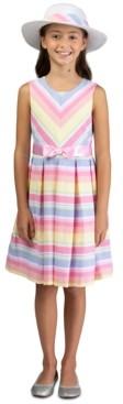 Bonnie Jean Toddler Girls 2-Pc. Straw Hat & Striped Dress Set