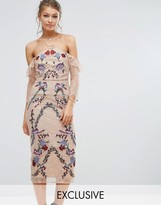 Hope and Ivy Hope & Ivy Off Shoulder Lace Midi Dress With Embroidery