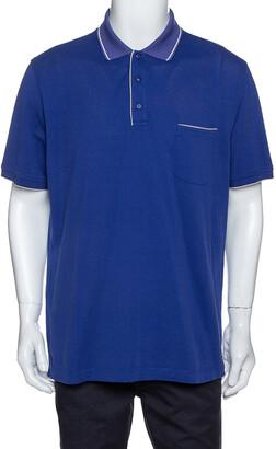 Loro Piana Indigo Stretch Cotton Pique Polo T-Shirt XXXL
