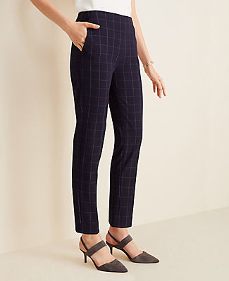 Ann Taylor The Petite Side Zip Ankle Pant in Navy Windowpane Bi-Stretch