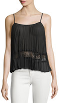 BCBGeneration Pleated Lace-Inset Camisole, Black