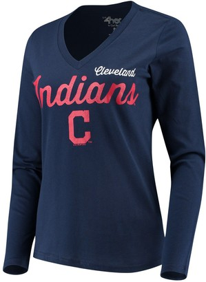 G Iii Women's G-III 4Her by Carl Banks Navy Cleveland Indians Preseason Long Sleeve V-Neck T-Shirt