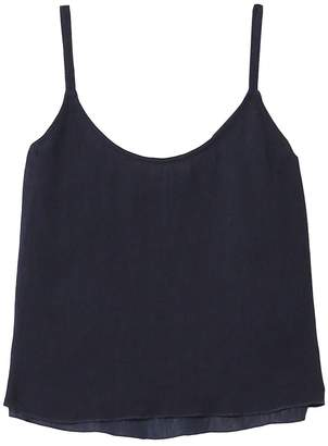 Raquel Allegra Pleated Rayon Little Cami in Navy