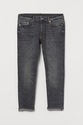 H&M Slim Cropped Selvedge Jeans - Gray