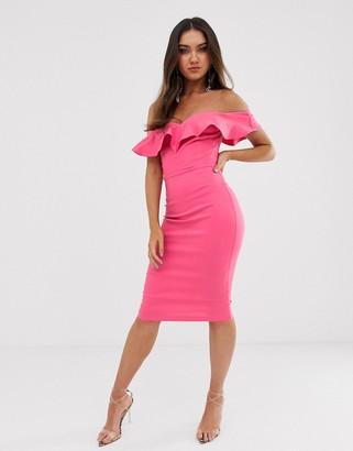 Vesper bodycon dress with sweetheart neckline with fill in fushcia