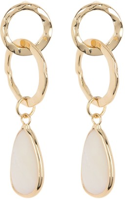 Halogen Pear Cut Mother of Pearl Hammered Link Drop Earrings