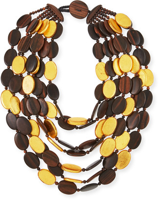 Viktoria Hayman Multi-Strand Golden Wood Necklace