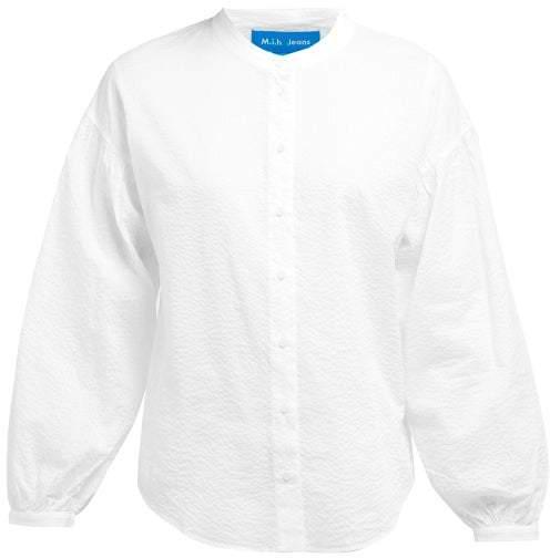 Mih Jeans Colt Band Collar Cotton Seersucker Shirt Womens