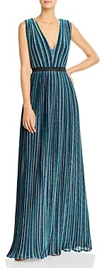 BCBGMAXAZRIA Metallic Stripe Pleated Gown