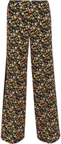Tory Burch Folly Floral-print Crepe Wide-leg Pants - Black