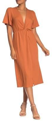 Lush Short Sleeve Ribbed Knit Midi Dress