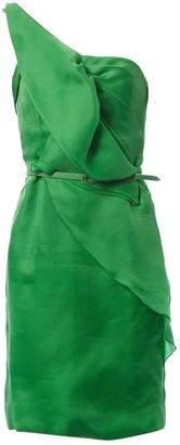 Oscar de la Renta Green Silk Dresses
