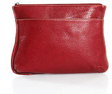 LAI Red Leather Zipper Closure Small Sized Clutch Handbag