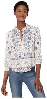 Lucky Brand Ruffle All Knit Printed Popover Top (White Multi) Women's Clothing