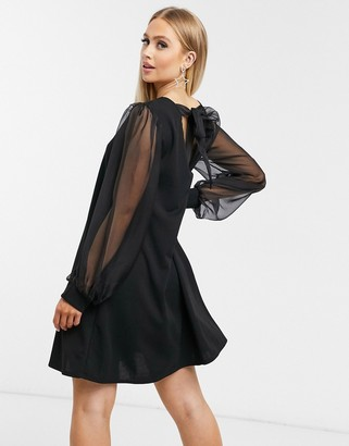 I SAW IT FIRST mini dress in organza with tie back in black