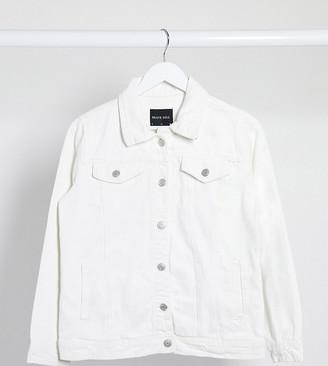 Brave Soul Petite chas denim jacket in white