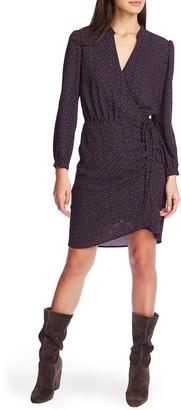 1 STATE Long Sleeve Modern Speckle Wrap Dress