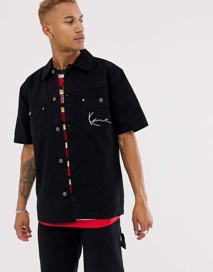 3d0f62b2d Signature Denim heavy short sleeve shirt in black