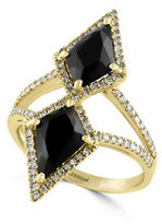 Effy Eclipse Onyx, Diamond and 14K Yellow Gold Geo Ring