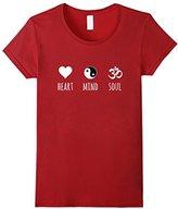Women's Heart Mind and Soul - Ying Yang - Om Symbol / Yoga T-Shirt Small