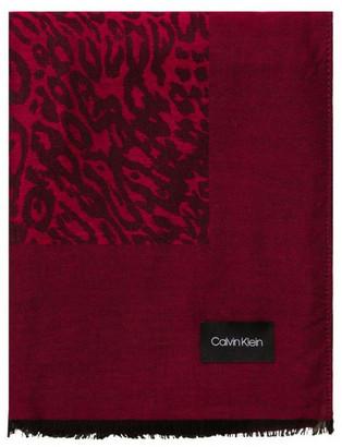Calvin Klein Leopard Chambray Scarf