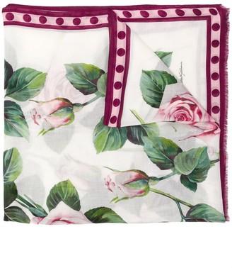 Dolce & Gabbana Tropical Rose-print scarf