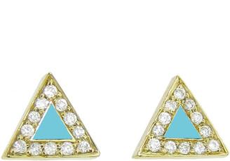 Jennifer Meyer Diamond Turquoise Inlay Triangle Stud Yellow Gold Earrings