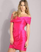 Warehouse Off Shoulder Silk Cocktail Dress