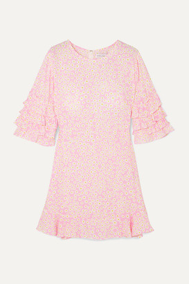Faithfull The Brand Serafina Ruffled Floral-print Crepe Mini Dress - Baby pink