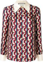 Gucci Mini web chain print shirt - women - Silk - 42