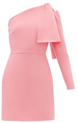 MSGM One-shoulder Crepe Mini Dress - Womens - Pink