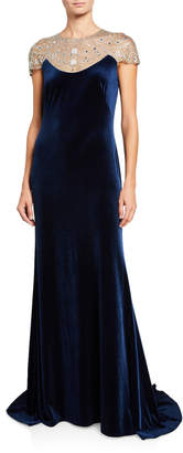 Tadashi Shoji Cap Sleeve Velvet Gown w/ Bead Embellished Neck Detail