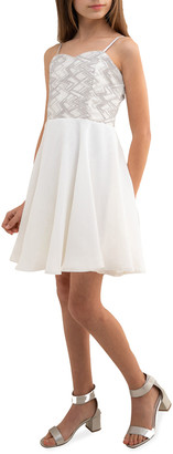 Un Deux Trois Girl's Sequin and Chiffon Sleeveless Dress, Size 7-20