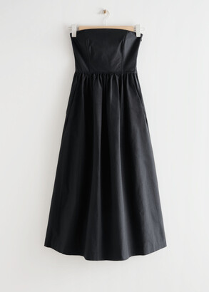 And other stories Voluminous Bandeau Midi Dress