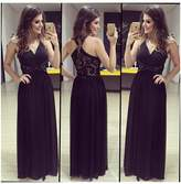 Lovef Dress Lovef Sexy Womens Noble Sleeveless Cocktail Party Long Formal Evening Gown Dress (L)