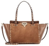 Valentino Garavani Rockstud leather and suede tote