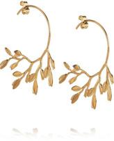 Alex Monroe 22-karat gold-plated leaf hoop earrings