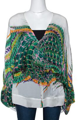 Roberto Cavalli Green Feather Print Silk Kaftan Blouse M