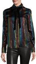 Marc Jacobs Rainbow-Dot Silk Blouse w/Velvet Bow, Black